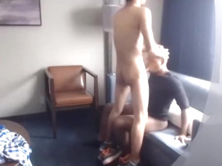 Handsome poof is beating off within doors and filming himself on webcam