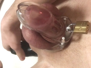 Ass toying buttplug with chastity belt