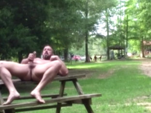 naked dilf jerking off in public