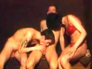 Crossdressers and guy with a fucking good time at the sauna.