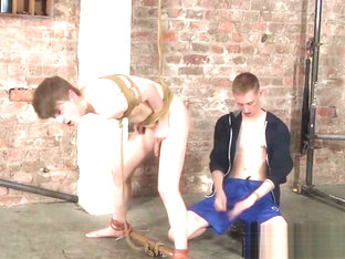 Tied up Lyle Boyce rimmed before rough anal dicking