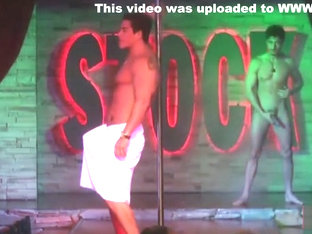 Super hot male stripper show off thick hard cock