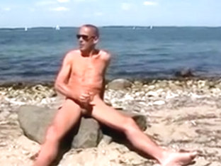 Gay Henndrik Solo Beach naked cum on Stone