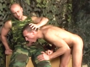 Army hunks fuck each other hard in the booty