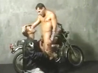 Two chicks leather bikers fucking