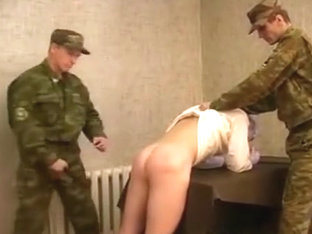 Young rusian soldier boy spanked and fucked