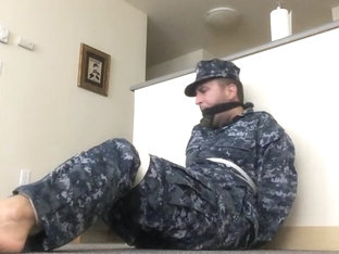 Navy Guy Bound and Gagged with his Socks