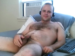 Handsome gay is frigging within doors and filming himself on web camera