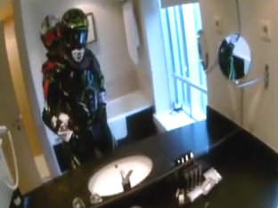 A quick fuck in Motocross Gear in the bathroom