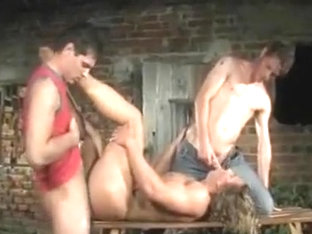 2 Euro jocks share a hot assed hot bodied blonde