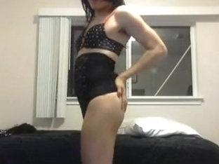 Crossdressing in a sexy black nightie