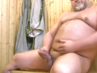 Bear jerking off in sauna