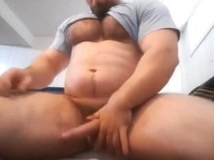Horny Beefy Muscle Boy Almost Caught Jerking Off