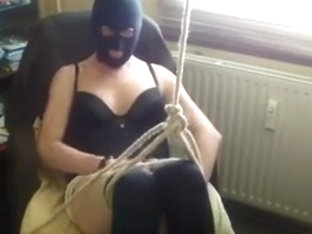 black nylon mask and selfbondage