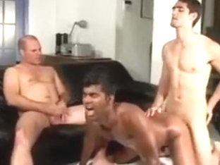 Two white guys share a sexy friendwn Indian dude