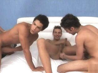 Hot gay foursome lick nipple suck dick and ass fuck