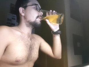 Jerking off, ass and drinking a glass of my own piss