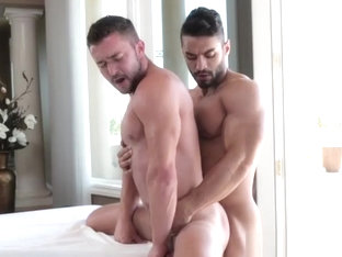 Massaged jock assfucked from behind
