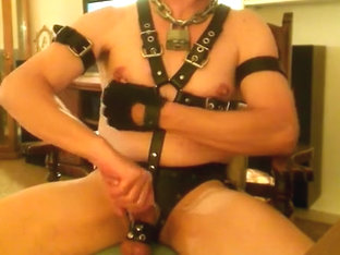 Leather Nip Play and Stroking My Hard Cock!!!