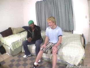 Blonde guy gets banged by a black stud