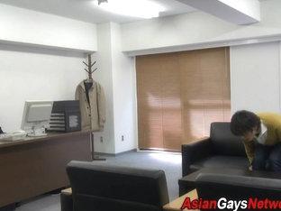 Asian office teen twinks