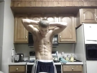Cute Blond Teen Shows Off His Muscles