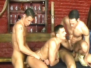A Group Of Cowboys Take Turns Sucking Each Other Off