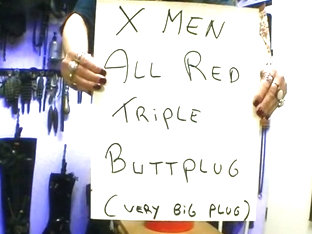 Men all red triple very huge buttplug bigger