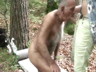 mature man tied up and fucked in woods