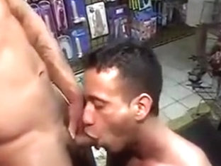 TWO HUNG HUNKS RAW FUCK IN SEX SHOP