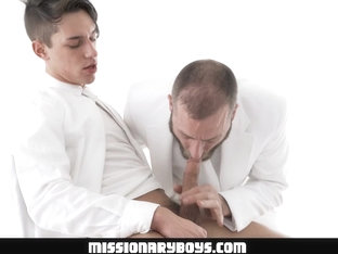 MormonBoyz - Handsome Missionary Boy Cums In A Priest's Mouth