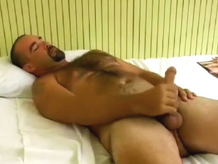 Hairy Aussie Bear Wanks and Sucked Off