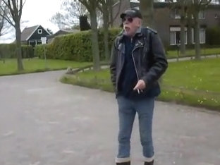 nlboots - rubber boots, leather jacket and outdoors, cold !