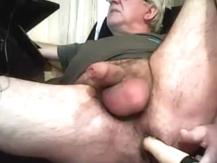 grandpa play with a dildo and cum on cam