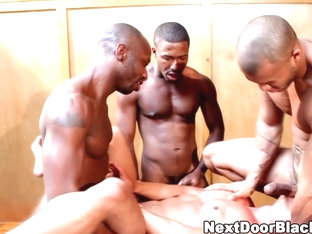 Muscly black group fuck asian