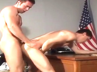 Horny male in hottest uniform gay porn scene
