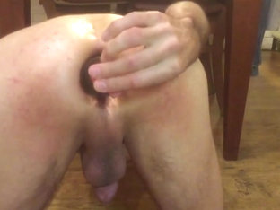 Big dildo  2 bottles and apple in ass