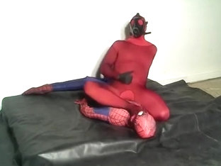 Red Morphsuit With Black Fishnet Humps Spiderman
