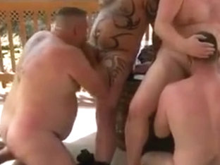 Steamy hot gay bear sex party