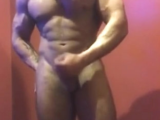 Bodybuilder Tanning Booth strip flex and jerk
