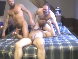 Naughty bears have raw threesome with rough inked hunk
