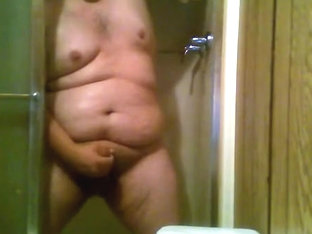 Obese Chub Shower and Cum