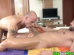 Turned straight bear sucks masseur cock