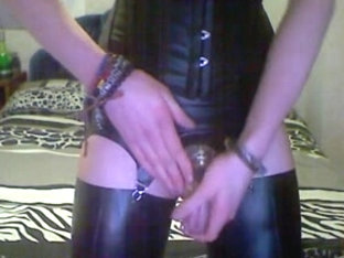 Anal Play - Hot Crossdresser in Latex Nylons & Chastity
