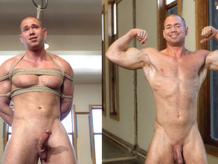 Bodybuilder gets edged by a guy for the first time