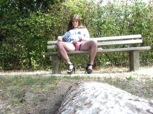 Tranny relaxing outside waiting for hard cocks