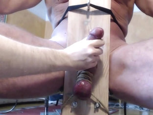 Me milk hung trucker buddy in milking chair - post cum rub