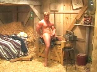 Muscular Cowboy Strokes His Fat Prick