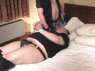 Gay Leather Stud Tied Up For Hot Blow Job In Hotel Room
