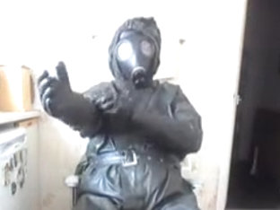 Dark rubber NBC costume jack off.